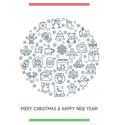 merry christmas thin line icons banner vector image