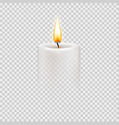 Round cylindrical candle with burning flames vector