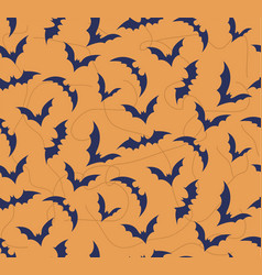seamless pattern of bat on bright orange vector image