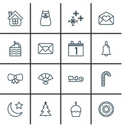 Set of 16 happy new year icons includes agenda vector