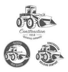 Set of logos with bulldozer vector