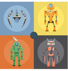 set of metallic robots or droids on four icons vector image