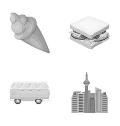Skyscraper transport and other monochrome icon in vector