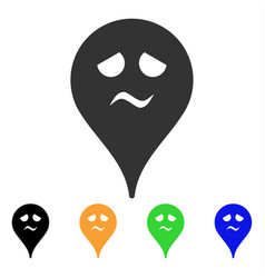 Trouble smiley map marker icon vector