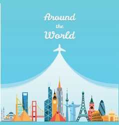 World landmarks Travel and tourism background vector image