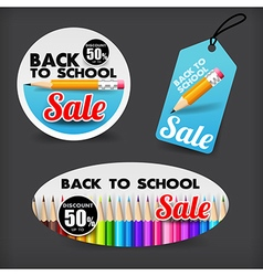 017 collection of back to school sale with color vector
