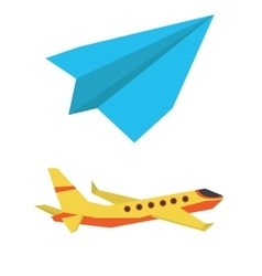 Passenger airplane and paper plane vector