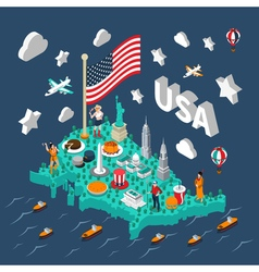 Usa isometric map vector