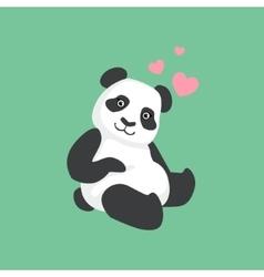 Cute panda in love bamboo vector