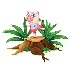 A tree with a female pig vector image