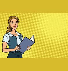 female secretary pop art vector image