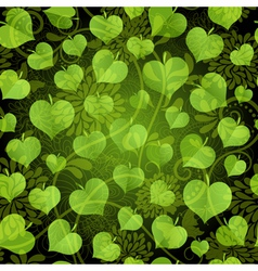 seamless pattern with bright green leaves vector image
