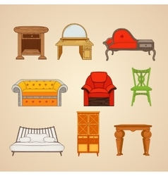 Set of of home furnishings vector