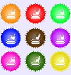 Lunch box icon sign a set of nine different vector