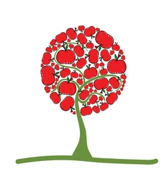 Tree with red apple vector