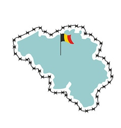 Belgium map map of states with barbed wire country vector