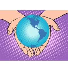 Planet earth in hands south and north america vector