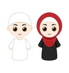 Cartoon muslim couple vector image