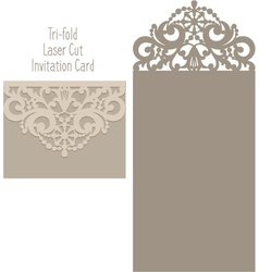 Laser cut envelope template for invitation vector