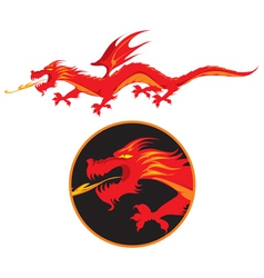 Red dragon vector image