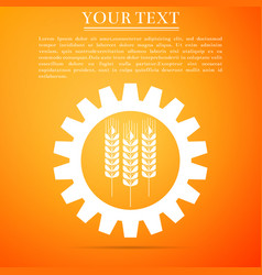 agriculture symbol with cereal grains and gears vector image