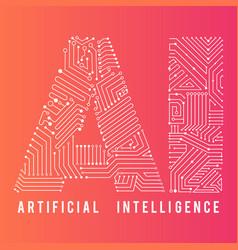 Artificial inteligence word for education design vector