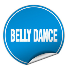 Belly dance round blue sticker isolated on white vector