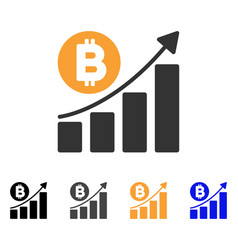 bitcoin bar chart trend icon vector image