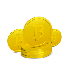 Bitcoins isolated on white background few vector