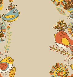 border with abstract hand-drawn flowers and birds vector image