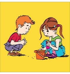 Boy and girl playing in the sandbox vector