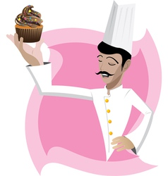 Chef is showing his cup cake vector image