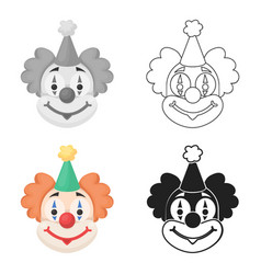 clown icon in cartoon style isolated on white vector image
