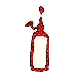 Comic cartoon ketchup bottle vector