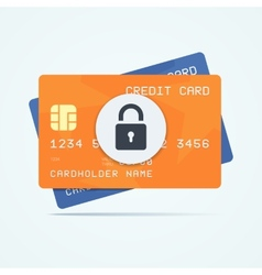 Credit cards with padlock for a security payment vector image