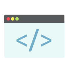 Custom coding flat icon seo and development vector