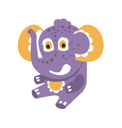 Cute cartoon baby elephant character sitting on a vector