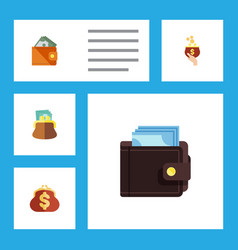 Flat icon purse set of saving currency wallet vector