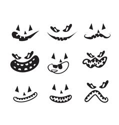 Ghost faces pumpkin faces vector