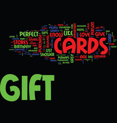Gift cards the perfect gift text background word vector