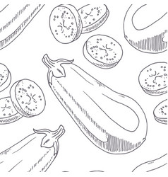 Hand drawn seamless pattern with eggplant vector