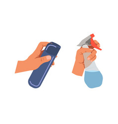 hands holding bottle sprays for cleaning on white vector image vector image