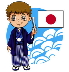 Japanese boy with flag vector
