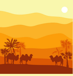 Landscape with camel vector