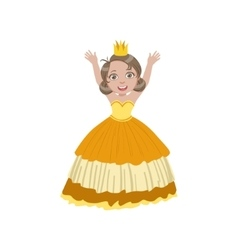 Little girl in sleeveless yellow dress dressed as vector