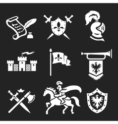 Medieval knight armor and swords icon set vector