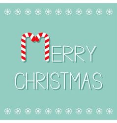 Merry christmas candy cane text snowflake frame vector