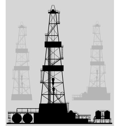 Oil rigs silhouette Detailed vector image vector image
