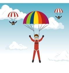 parachutist man extreme sport vector image