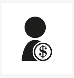 Person with dollar sign in simple black design vector